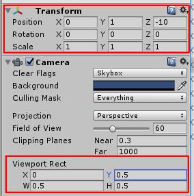 Camera1のTransformとViewport Rect