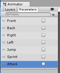 SkyrimController/Animator Controller/Parametersを設定