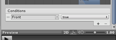 SkyrimController/Animator Controller/TransitionにParametersを設定