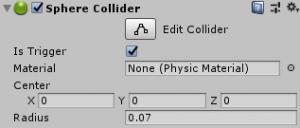 もっとスカイリム風/GroundDesicion/Spehe Collider/Is Triggerにチェック