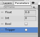 AnimatorController/Parameters/Float,Int,Bool,Trigger/セット