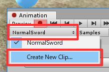 一人称移動剣/Animationウィンドウ/Create New Clip