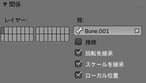 Blender骨盤/プロパティウィンドウ/ボーンタブ/親