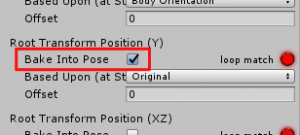 アニメ倒れたら浮く/Inspector/Animationタブ/RootTransformPosition(Y)のBakeIntoPose