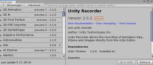 UnityRecorder/Package Manager/ Show preview packages